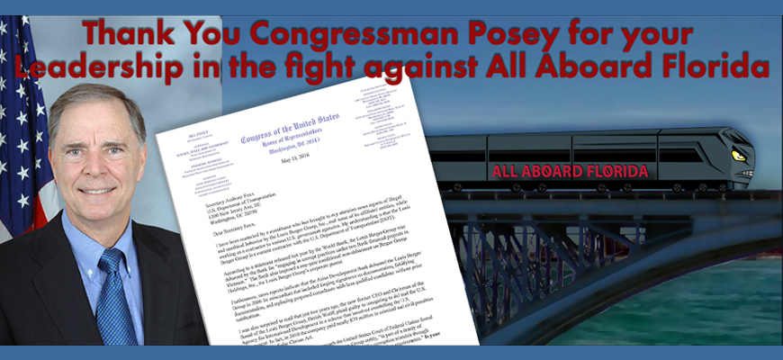 Congressman Bill Posey's Letter to the Department of Transportation